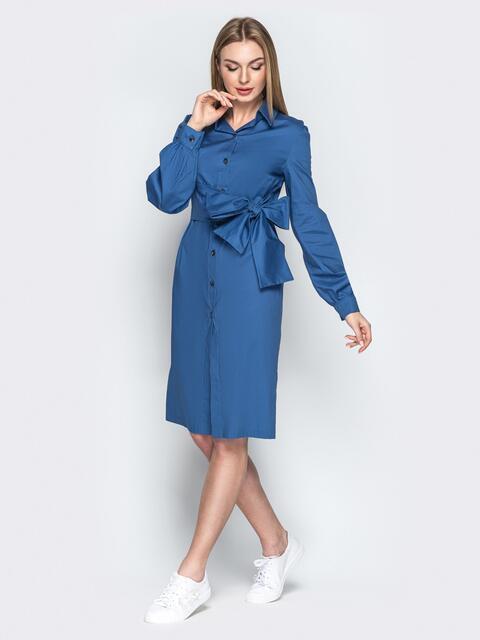 Хлопковое платье-рубашка с вшитым поясом голубое - 20852, фото 1 – интернет-магазин Dressa