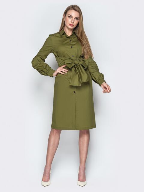 Хлопковое платье-рубашка с вшитым поясом хаки - 20853, фото 1 – интернет-магазин Dressa