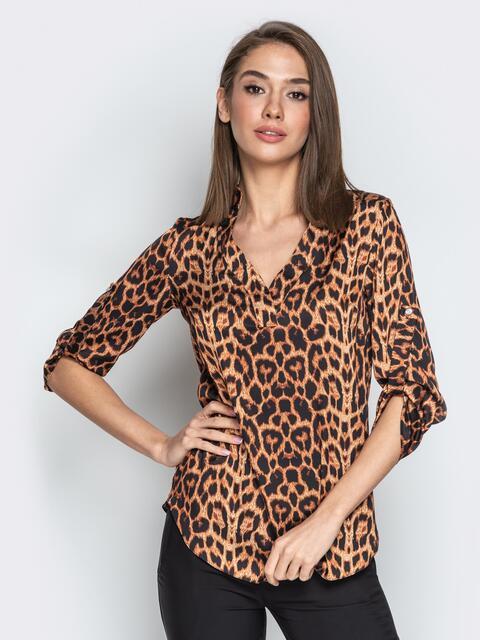 Леопардовая блузка с воротником и V-вырезом коричневая - 21326, фото 1 – интернет-магазин Dressa