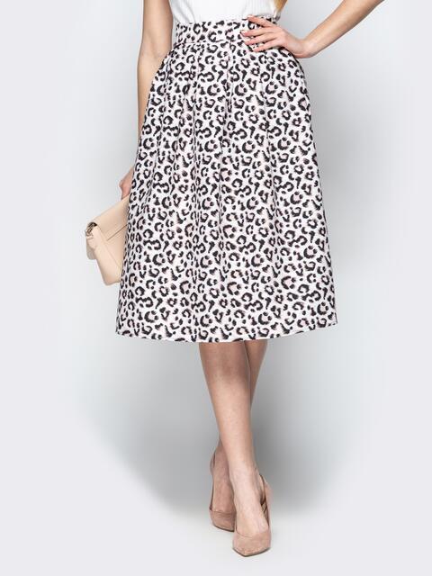 Леопардовая юбка-миди с бантовыми складками белая - 21324, фото 1 – интернет-магазин Dressa