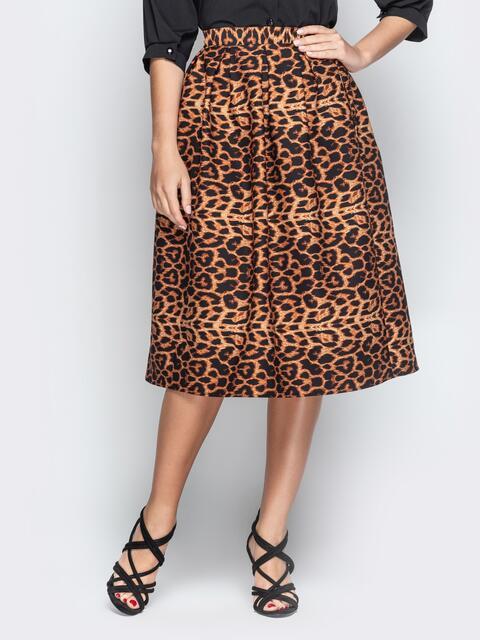 Леопардовая юбка-миди с бантовыми складками коричневая - 21325, фото 1 – интернет-магазин Dressa