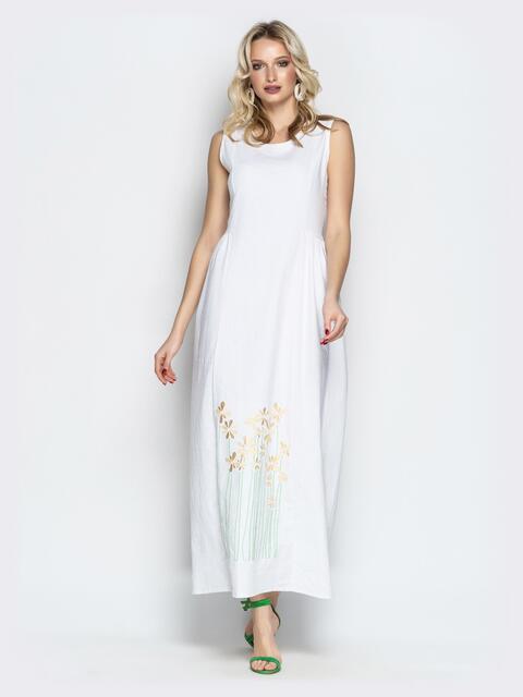 Льняное платье oversize с вышивкой на подоле белое - 20659, фото 1 – интернет-магазин Dressa
