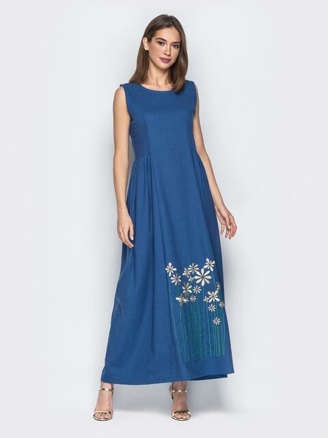 Льняное платье oversize с вышивкой на подоле синее - 20658, фото 1 – интернет-магазин Dressa