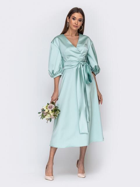 Платье бирюзового цвета с объемными рукавами - 44771, фото 1 – интернет-магазин Dressa