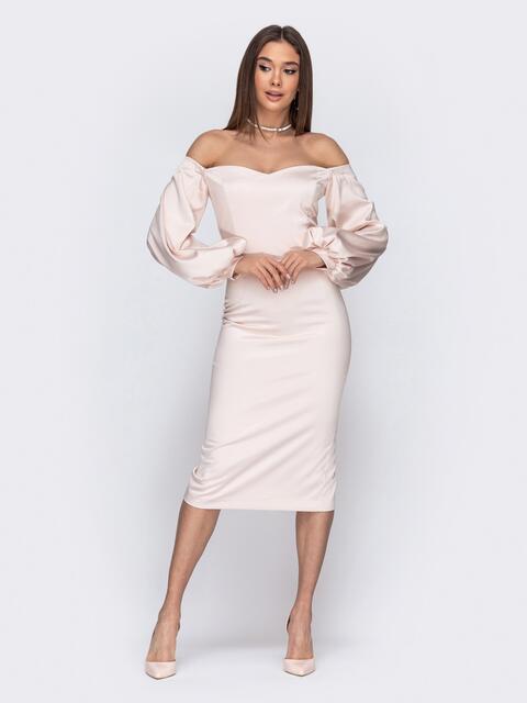 Платье-футляр с открытыми плечами пудровое - 44751, фото 1 – интернет-магазин Dressa