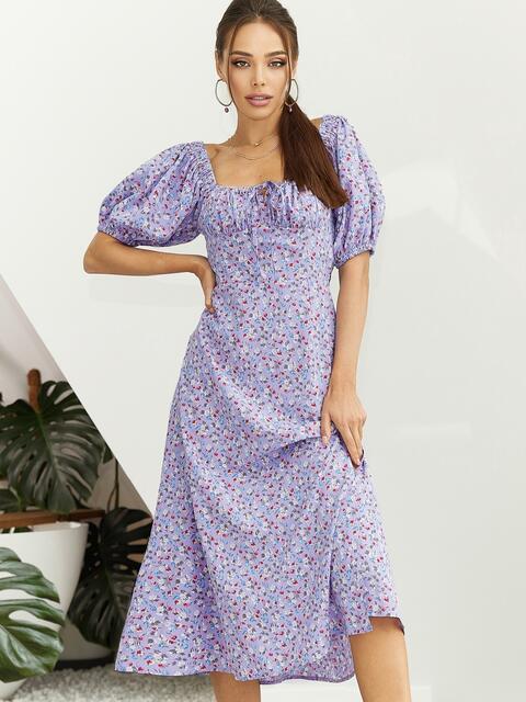 Платье из принтованого софта с разрезом по бедру сиреневое 54070, фото 1