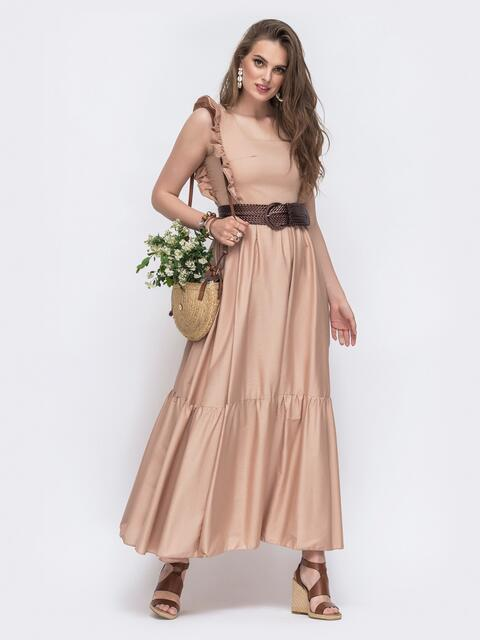 Платье-макси с квадратным вырезом и рюшами по бокам бежевое 48523, фото 1