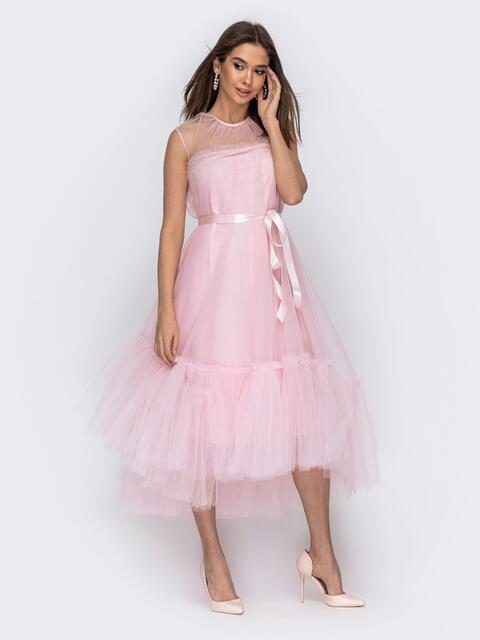 Платье пудрового цвета с фатиновым воланом по низу 44753, фото 1