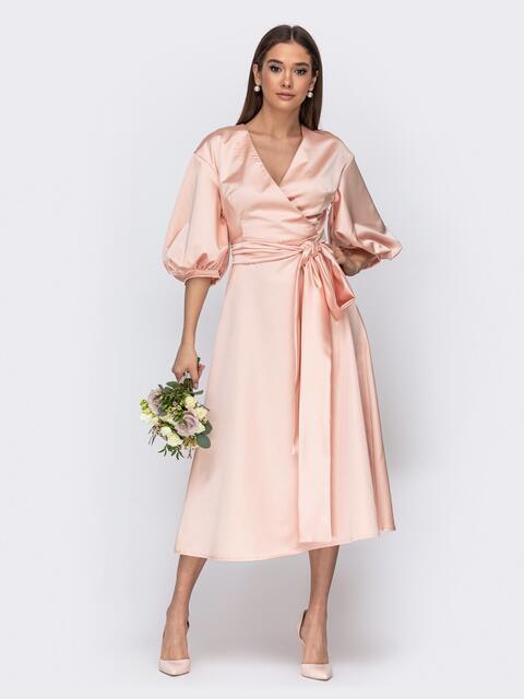 Платье розового цвета с объемными рукавами - 44770, фото 1 – интернет-магазин Dressa