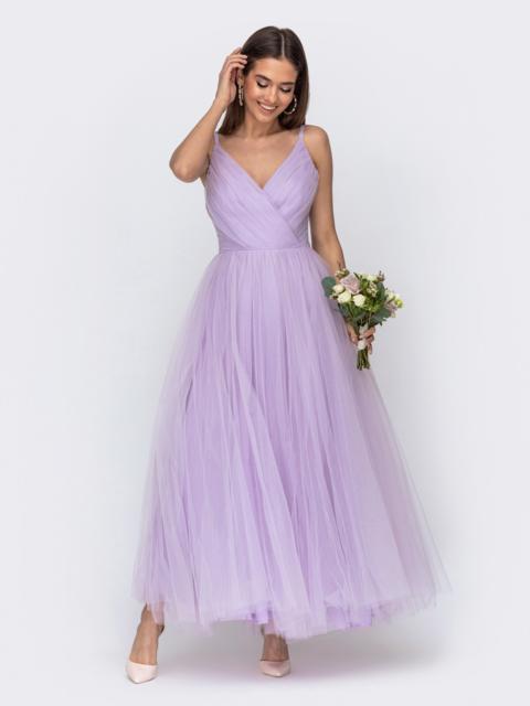 Платье с драпированным лифом и объемной юбкой фиолетовое - 44762, фото 1 – интернет-магазин Dressa