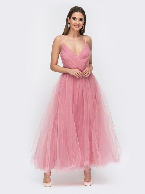 Платье с драпированным лифом и объемной юбкой розовое - 44760, фото 1 – интернет-магазин Dressa