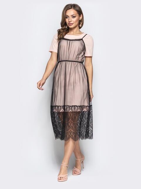 c5d307fd4f6 Пудровое платье-футболка с фатиновым верхом на бретелях 21735 ...