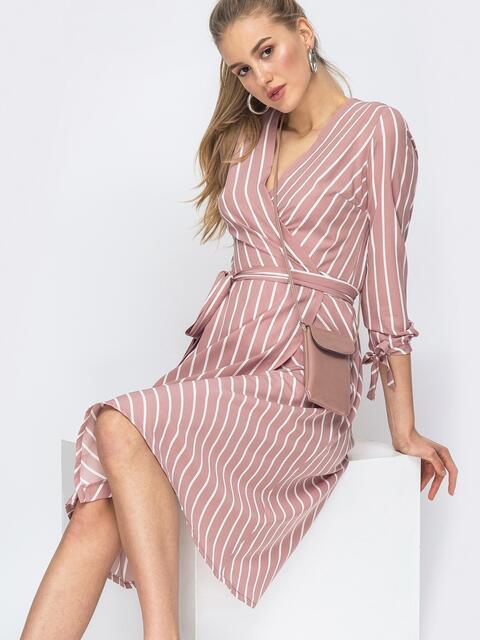 Пудровое платье на запах в полоску - 45542, фото 1 – интернет-магазин Dressa