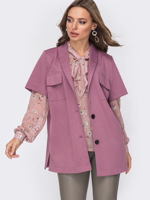 Розовая рубашка из джерси с накладными карманами 52039, фото 1