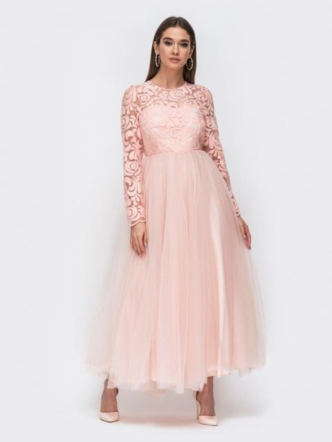 Розовое платье с гирюровыс верхом и объёсной юбкой - 44763, фото 1 – интернет-магазин Dressa