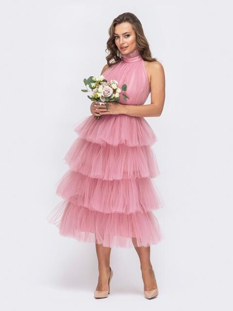 Розовое платье с открытой спиной и многоярусной юбкой - 44766, фото 1 – интернет-магазин Dressa