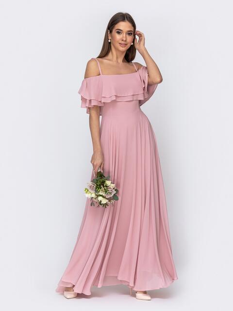 Розовое платье с открытыми плечами и юбкой-солнце - 44768, фото 1 – интернет-магазин Dressa
