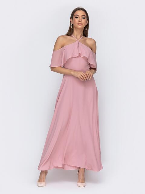 Розовое платье с вырезом «петля» и воланом по верху  44758, фото 1