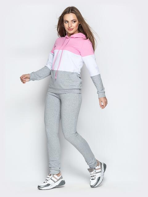 Спортивный костюм с контарстными вставками на кофте серый - 21309, фото 1 – интернет-магазин Dressa