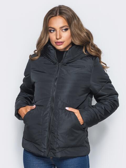 Стёганая куртка с капюшоном и объемными карманами черная 14698, фото 1
