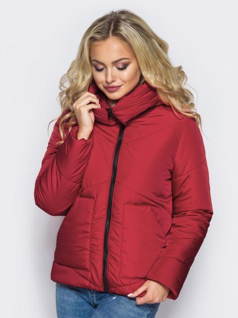 Стёганая куртка с капюшоном и объемными карманами красная 14700, фото 1