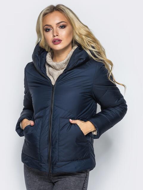 Стёганая куртка с капюшоном и объемными карманами темно-синяя 14702, фото 1