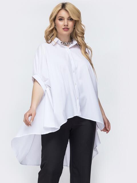 Блузка батал свободного кроя со шлейфом белая 46183, фото 1