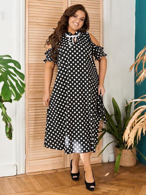 Черное платье в горох большого размера 48827, фото 1