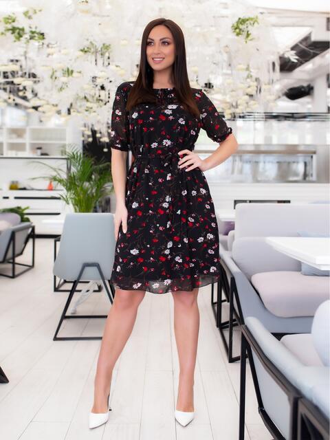Чёрное шифоновое платье батал с принтом 46505, фото 1