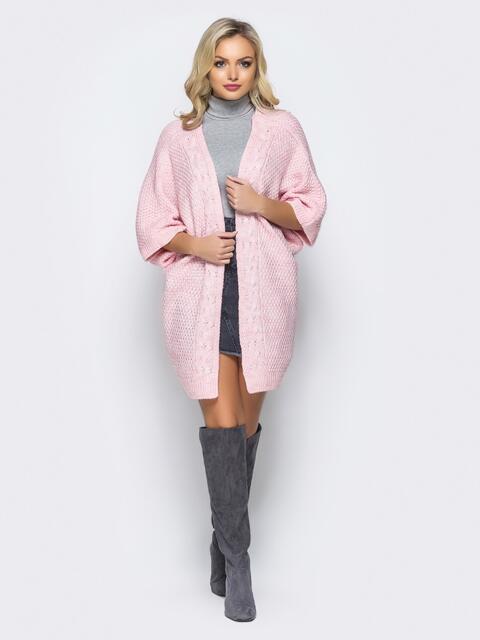Кардиган розового цвета с v-образным вырезом на спине - 16102, фото 2 – интернет-магазин Dressa
