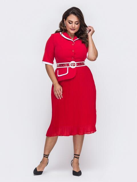 Красное платье с юбкой-плиссе и контрастной окантовкой 50969, фото 1
