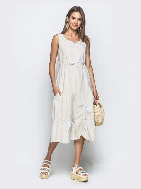 Льняное платье бежевого цвета - 39693, фото 1 – интернет-магазин Dressa