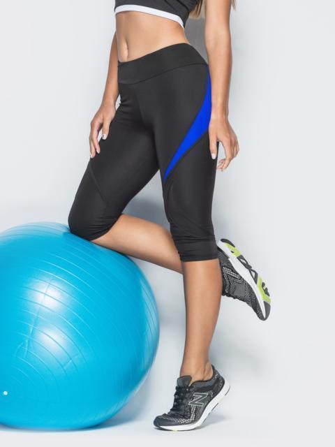 Спортивные бриджи с сеткой и синими вставками чёрные - 38794, фото 1 – интернет-магазин Dressa