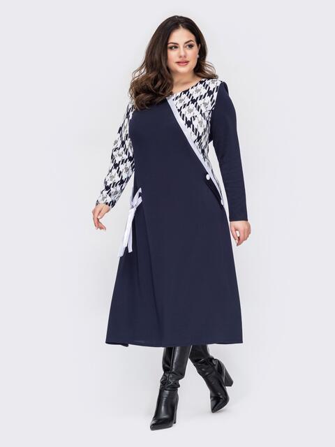 Темно-синее платье батал со вставками контрастного цвета 52792, фото 1