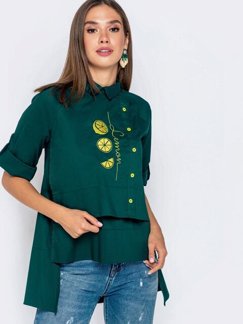 """Зеленая рубашка с рукавом-реглан и нашивкой """"лимон"""" 40856, фото 1"""