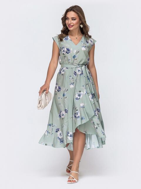 Зелёное платье в цветочный принт с юбкой на запах  48054, фото 1