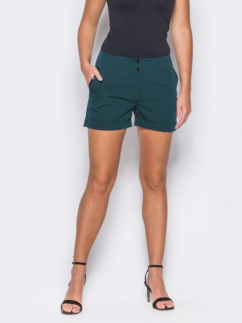 Зеленые шорты на молнии с карманами по бокам - 12120, фото 1 – интернет-магазин Dressa