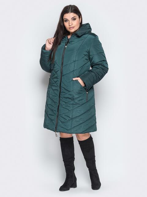 Зимняя куртка с карманами на молнии тёмно-зелёная - 18258, фото 1 – интернет-магазин Dressa