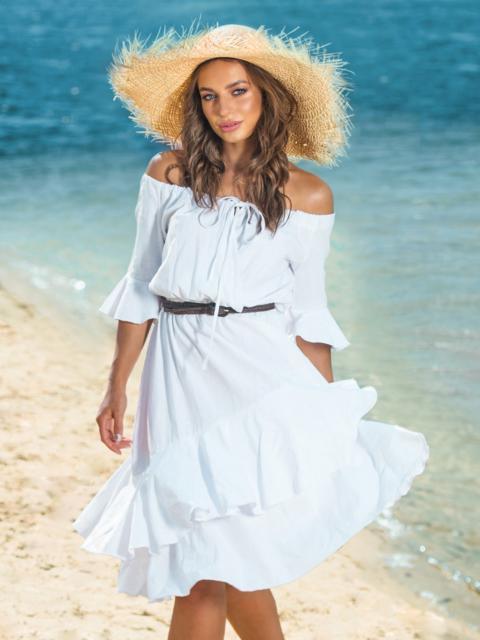 Белое платье с открытыми плечами и двухслойной юбкой 39001, фото 1