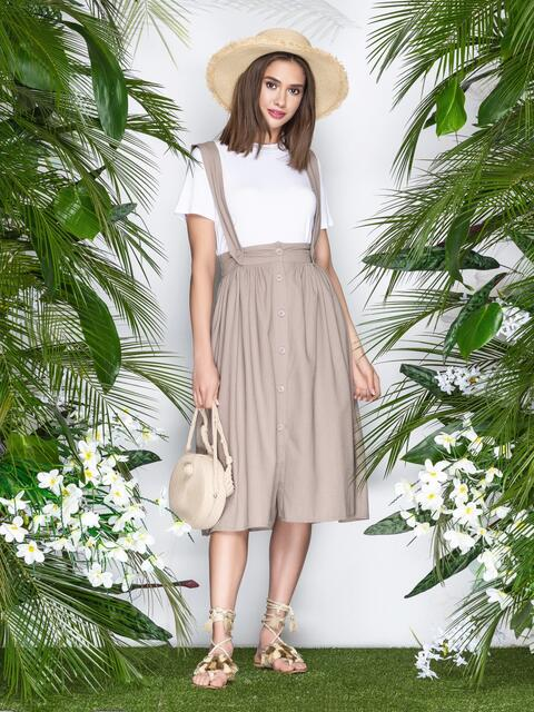 Бежевая юбка из льна на широких бретелях - 22043, фото 1 – интернет-магазин Dressa