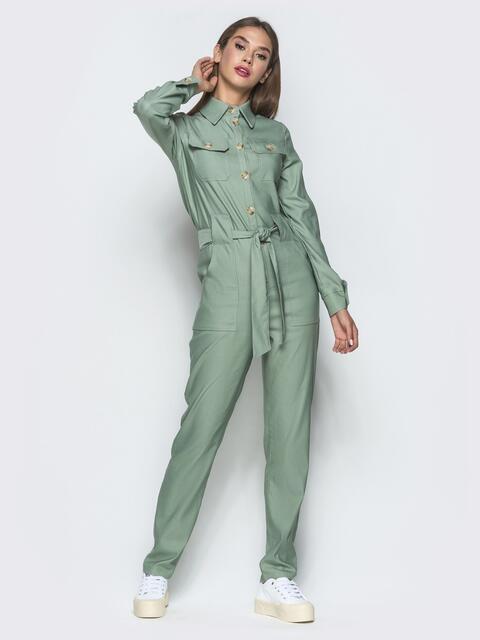 Комбинезон мятного цвета в стиле сафари - 40110, фото 1 – интернет-магазин Dressa