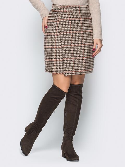 """Коричневая юбка """"гусиные лапки"""" на запах с кнопками - 19326, фото 1 – интернет-магазин Dressa"""