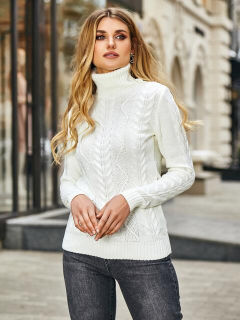 Молочный свитер с ажурной вязкой и высоким воротником 42146, фото 1