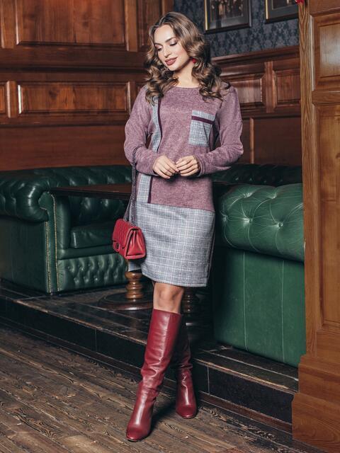 Платье с верхом из меланжевой ангоры розовое - 18490, фото 1 – интернет-магазин Dressa