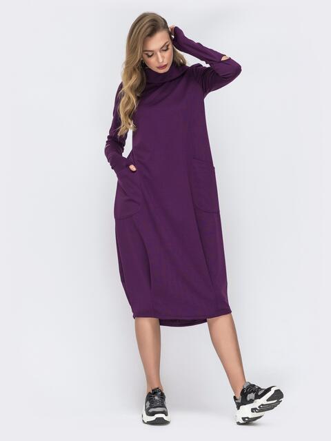 Трикотажное платье свободного кроя фиолетовое 44106, фото 1