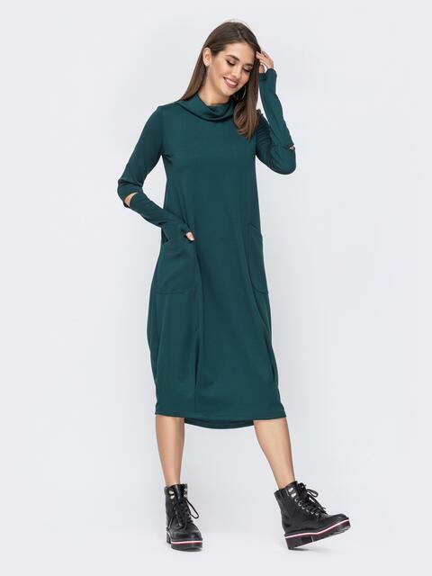 Трикотажное платье свободного кроя тёмно-зелёное 44105, фото 1