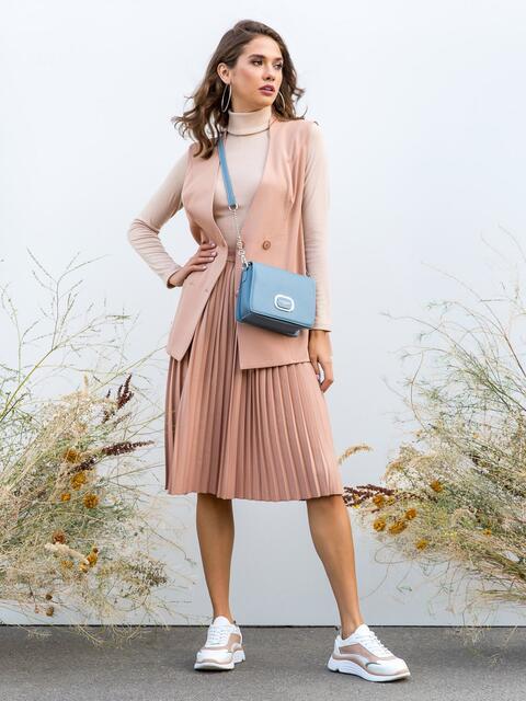 Бежевый комплект из жилета и юбки-плиссе - 40148, фото 1 – интернет-магазин Dressa