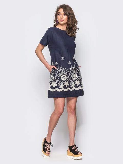 Льняное короткое платье с прошвой по низу синее - 11179, фото 1 – интернет-магазин Dressa