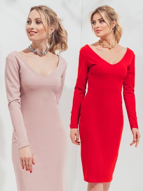 Обтягивающее платье с глубоким вырезом пудровое - 45534, фото 1 – интернет-магазин Dressa