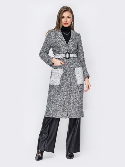 Пальто на запах из букле серое 53061, фото 1